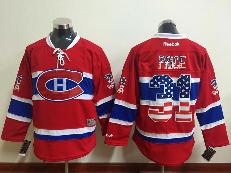 Canadiens 31 Carey Price Red USA Flag Reebok Jersey