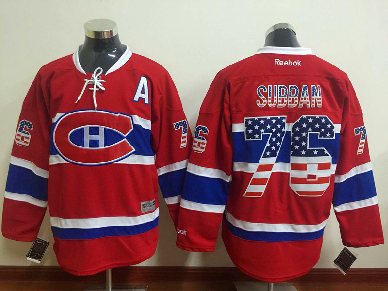 Canadiens 76 P.K. Subban Red USA Flag Reebok Jersey