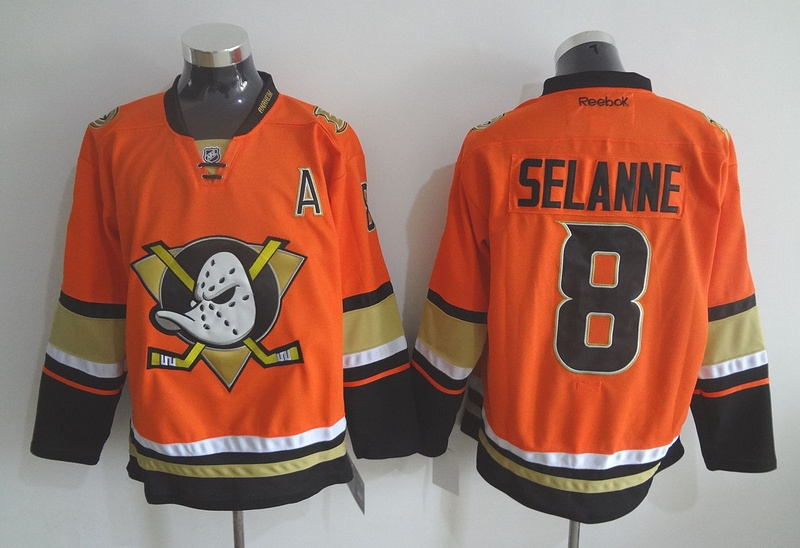 Ducks 8 Teemu Selanne Orange Reebok Jersey