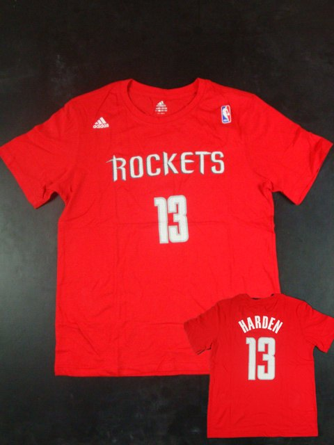 Rockets 13 Harden Name & Number Red T Shirts