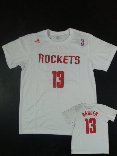 Rockets 13 Harden Name & Number White T Shirts