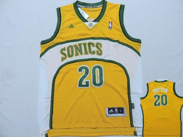 Supersonics 20 Payton Yellow New Revolution 30 Jerseys