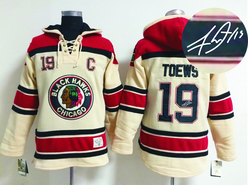 Blackhawks 19 Toews Cream Old Times Signature Edition Hooded Jerseys