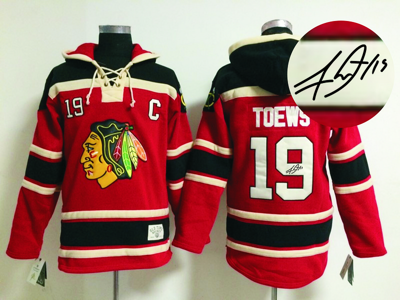 Blackhawks 19 Toews Red Signature Edition Hooded Jerseys