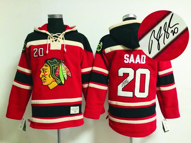 Blackhawks 20 Saad Red Signature Edition Hooded Jerseys