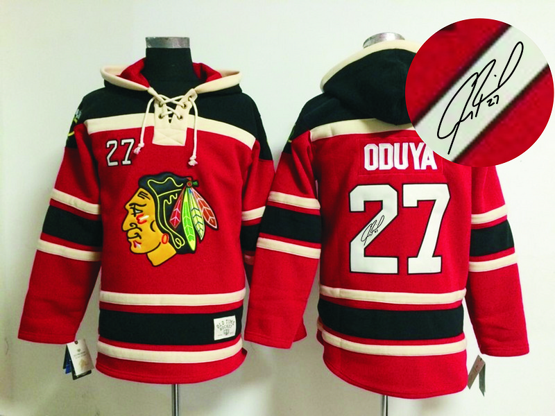 Blackhawks 27 Oduya Red Signature Edition Hooded Jerseys