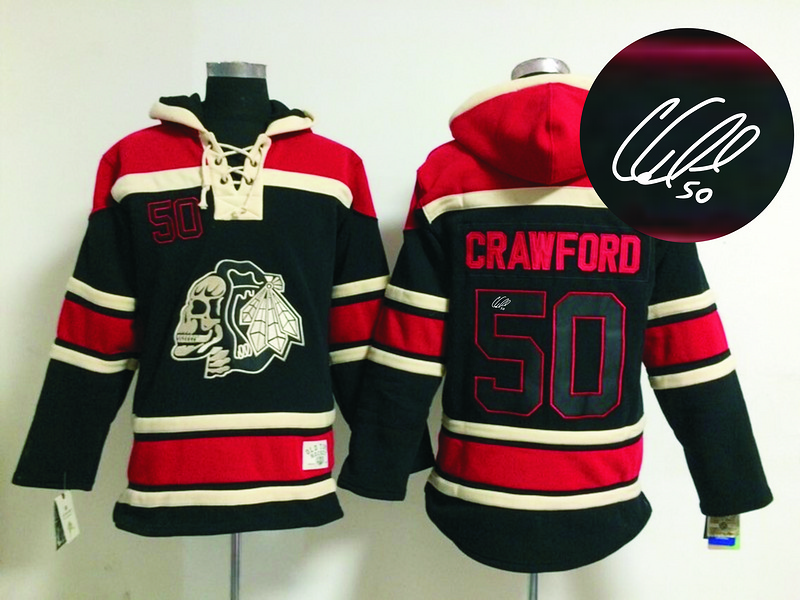 Blackhawks 50 Crawford Black Skull Signature Edition Hooded Jerseys