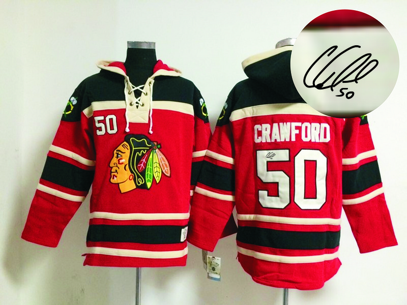 Blackhawks 50 Crawford Red Signature Edition Hooded Jerseys