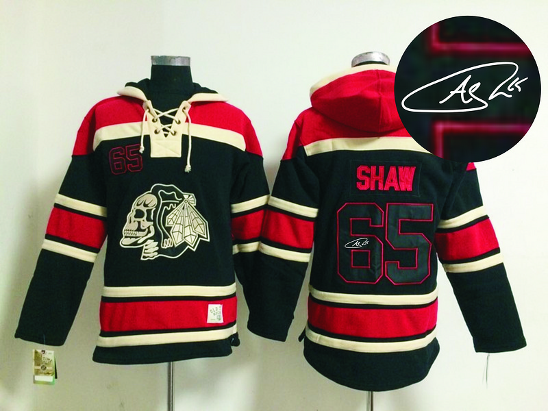 Blackhawks 65 Shaw Black Skull Signature Edition Hooded Jerseys