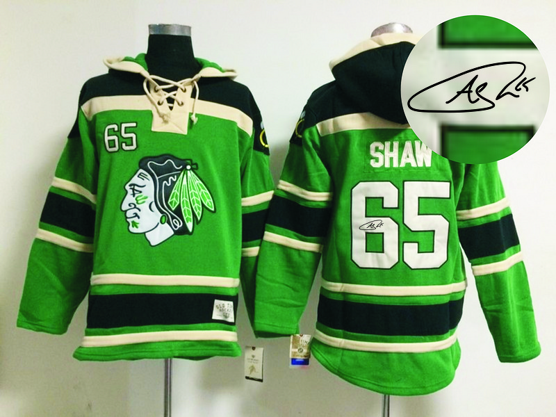 Blackhawks 65 Shaw Green Signature Edition Hooded Jerseys