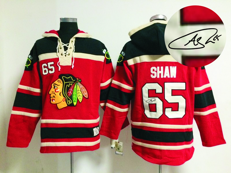 Blackhawks 65 Shaw Red Signature Edition Hooded Jerseys
