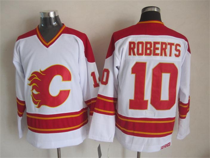 Flames 10 Roberts White CCM Jerseys