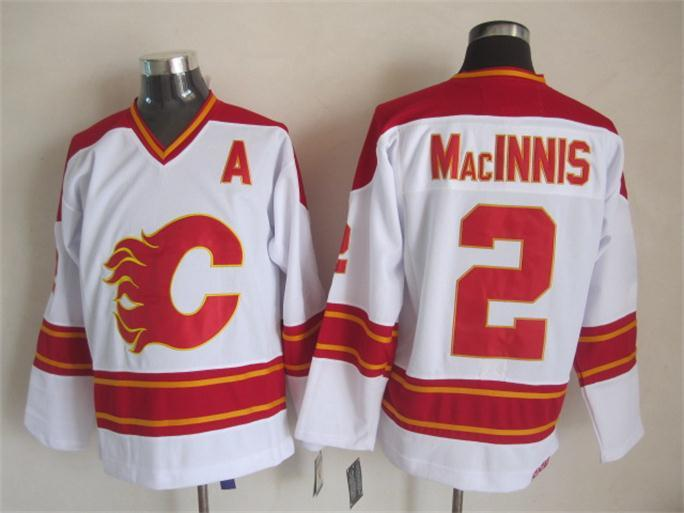 Flames 2 MacInnis White CCM Jerseys