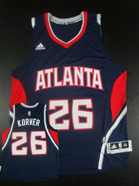 Hawks 26 Kyle Korver Navy Blue New Revolution 30 Jersey
