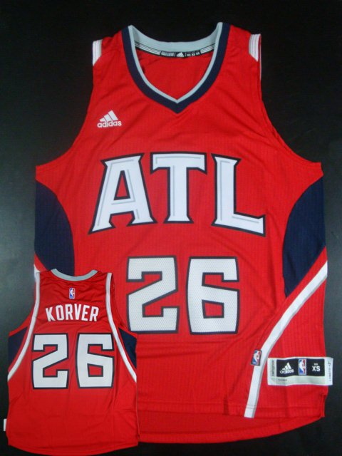 Hawks 26 Kyle Korver Red New Revolution 30 Jersey