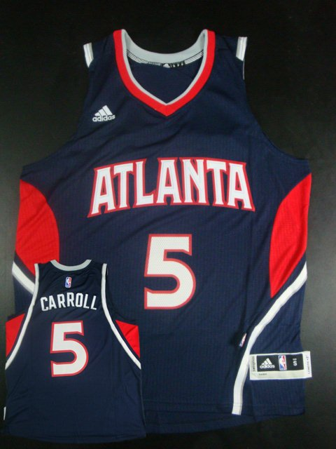 Hawks 5 Demarre Carroll Navy Blue New Revolution 30 Jersey