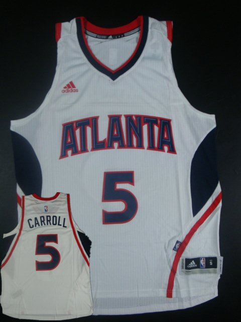 Hawks 5 Demarre Carroll White New Revolution 30 Jersey