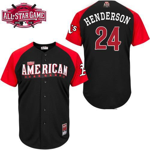 American League Athletics 24 Henderson Black 2015 All Star Jersey