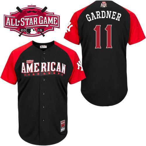 American League Yankees 11 Gardner Black 2015 All Star Jersey