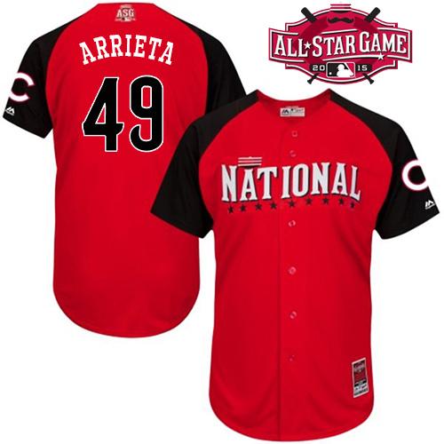 National League Cubs 49 Arrieta Red 2015 All Star Jersey