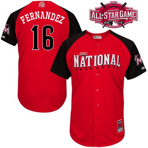National League Marlins 16 Fernandez Red 2015 All Star Jersey