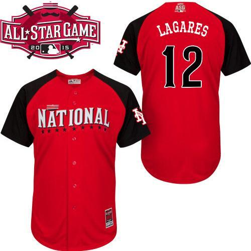 National League Mets 12 Lagares Red 2015 All Star Jersey
