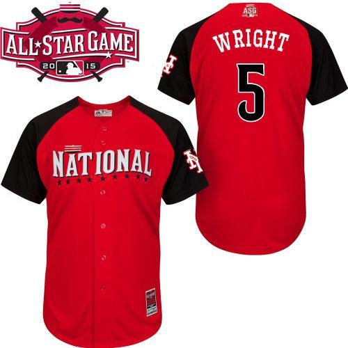 National League Mets 5 Wright Red 2015 All Star Jersey