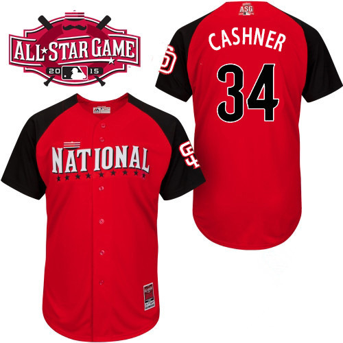 National League Padres 34 Cashner Red 2015 All Star Jersey