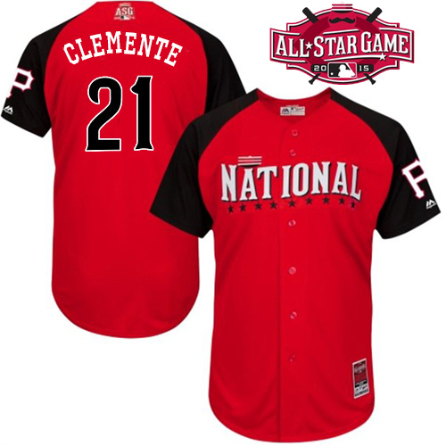 National League Pirates 21 Clemente Red 2015 All Star Jersey