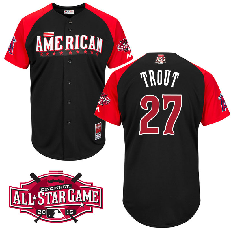 American League Angels 27 Trout Black 2015 All Star Jersey