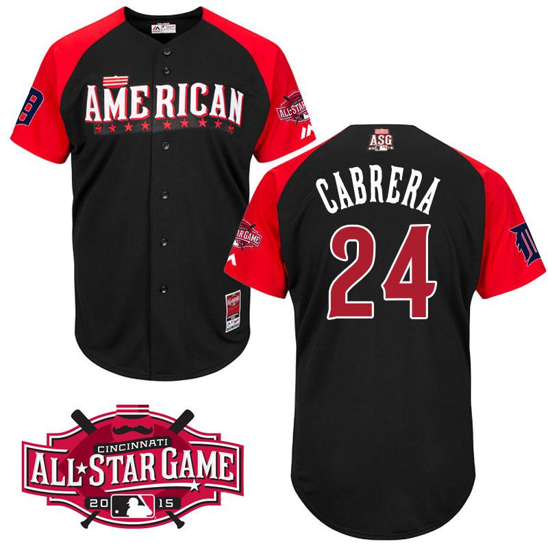 American League Tigers 24 Cabrera Black 2015 All Star Jersey