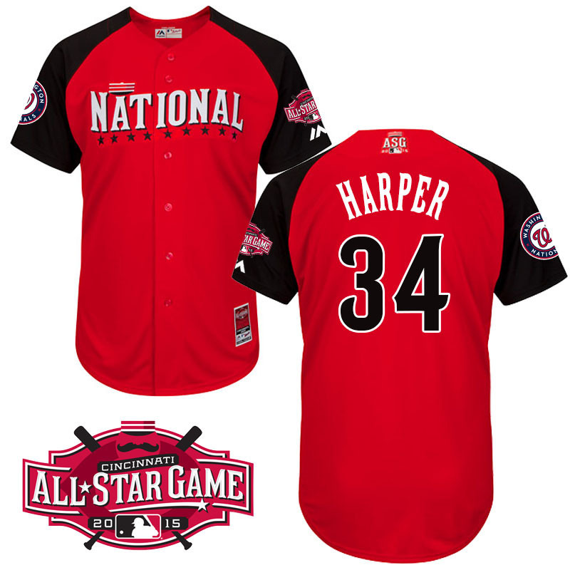 National League Nationals 34 Harper Red 2015 All Star Jersey