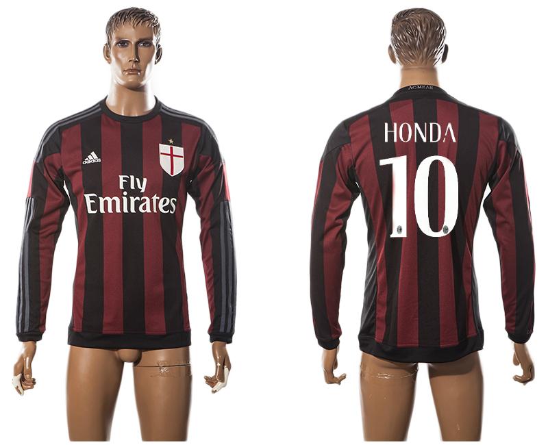 2015-16 AC Milan 10 HONDA Home Long Sleeve Thailand Jersey