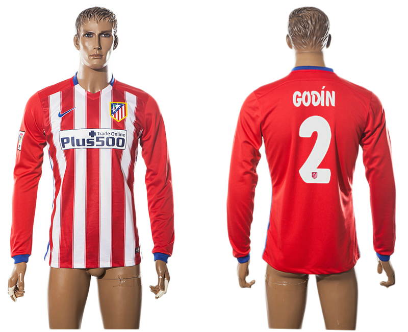 2015-16 Atletico Madrid 2 GODIN Home Long Sleeve Thailand Jersey