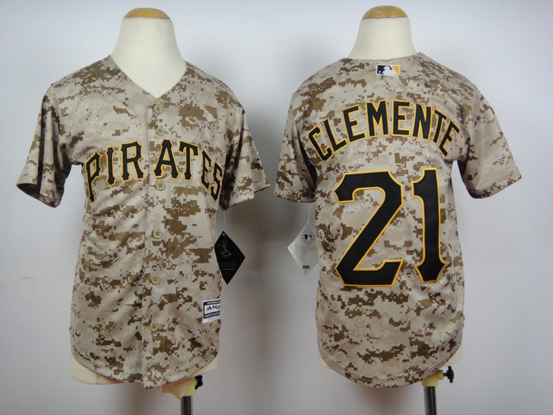 Pirates 21 Roberto Clemente Camo Youth New Cool Base Jersey