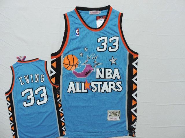 1996 All Star 33 Patrick Ewing Teal Hardwood Classics Jersey