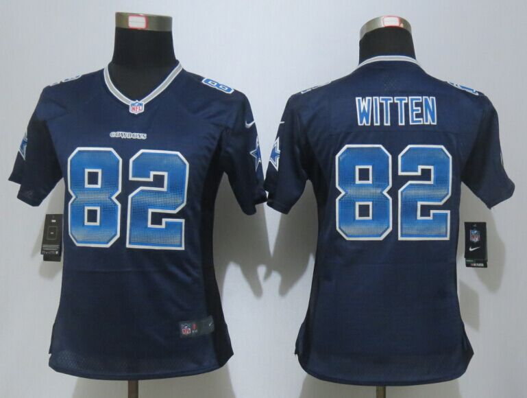 Nike Cowboys 82 Jason Witten Navy Blue Pro Line Fashion Strobe Women Jersey