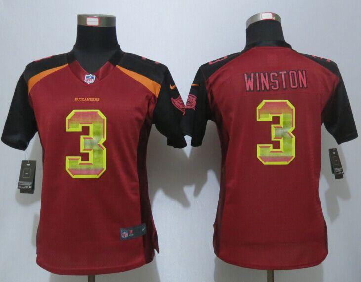 Nike Buccaneers 3 Jameis Winston Red Pro Line Fashion Strobe Women Jersey