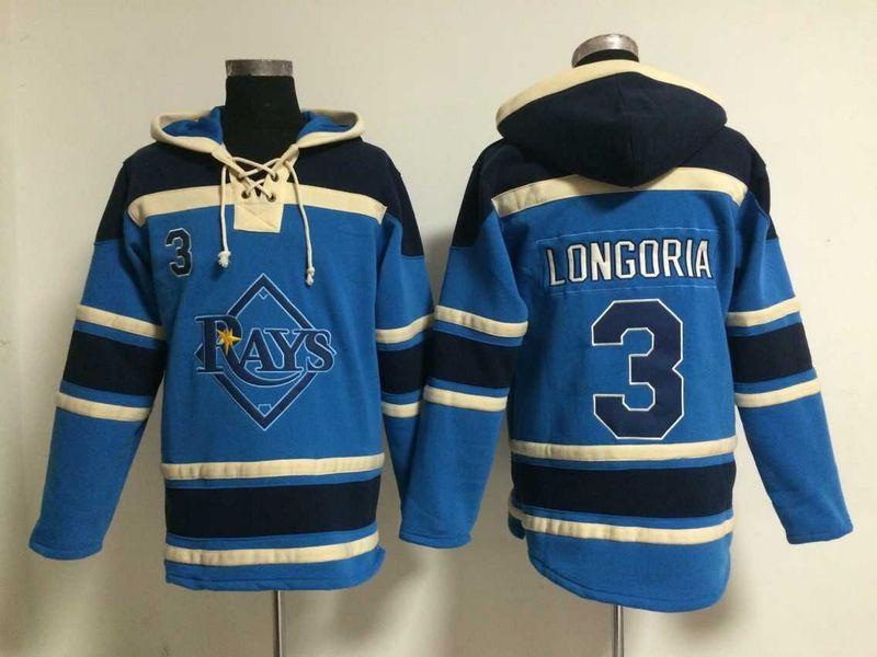 Rays 3 Evan Longoria Blue All Stitched Hooded Sweatshirt