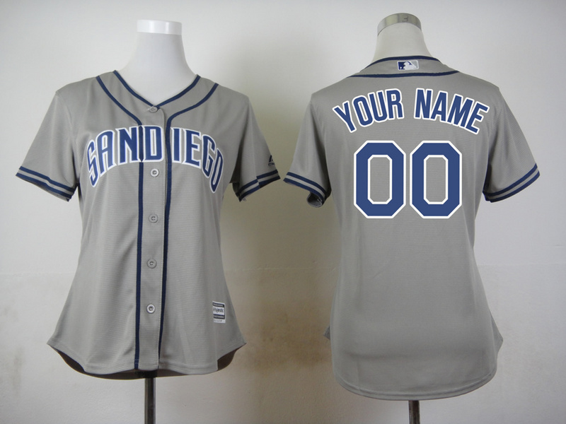 Padres Grey Cutomized Women New Cool Base Jersey