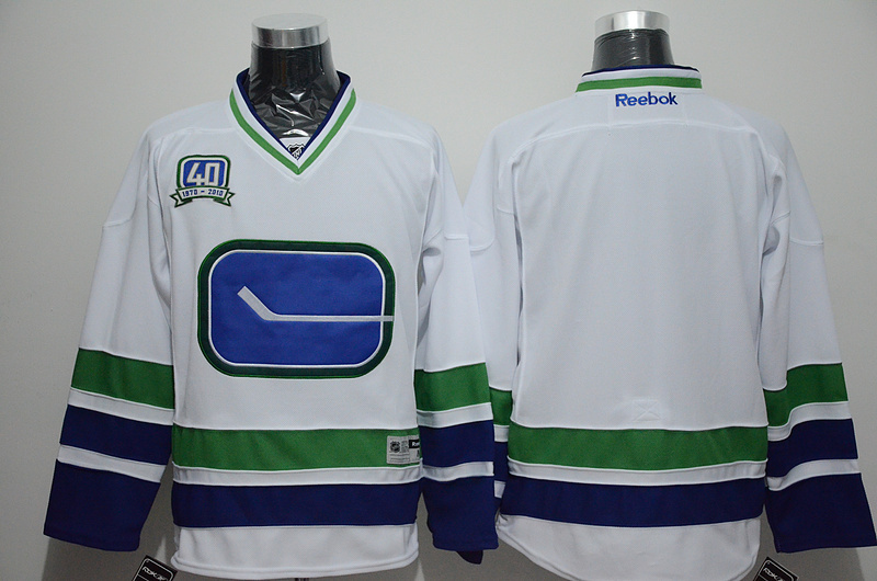 Canucks Blank White 40th Third Edition Jersey