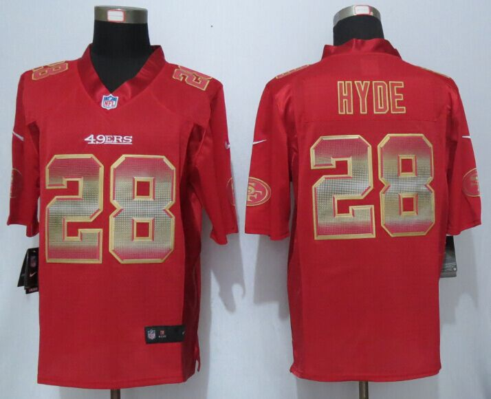 Nike 49ers 28 Carlos Hyde Red Pro Line Fashion Strobe Jersey