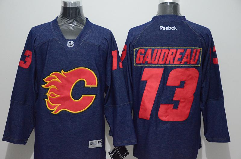 Flames 13 Johnny Gaudreau Blue Reebok Jersey