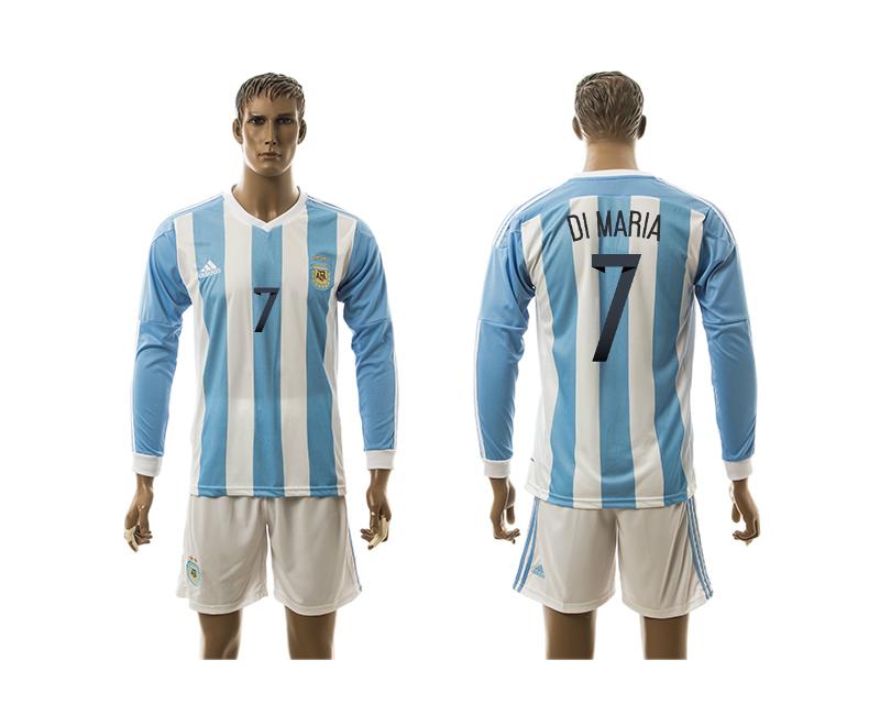 Argentina 7 DI MARIA Home 2016 Copa America Centenario 2016 Copa America Centenario Long Sleeve Soccer Jersey