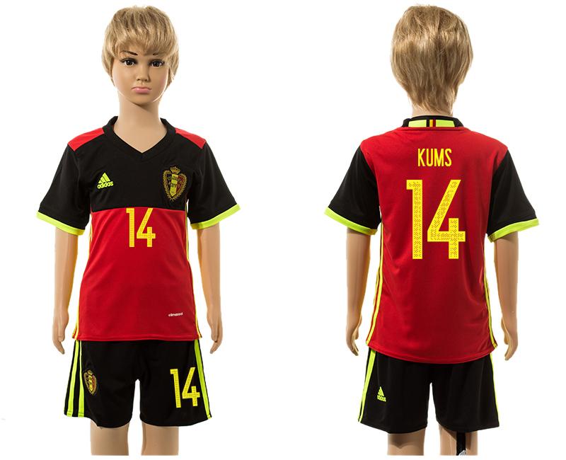 Belgium 14 KUMS Home Youth UEFA Euro 2016 Jersey