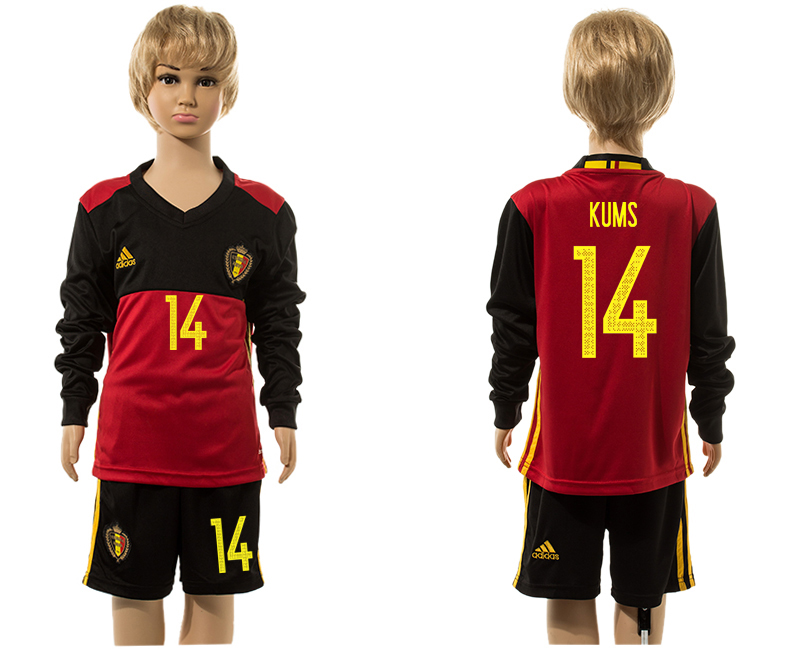 Belgium 14 KUMS Home Youth Long Sleeve UEFA Euro 2016 Jersey