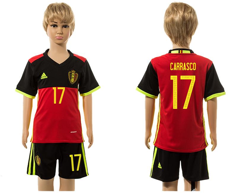 Belgium 17 CARRASCO Home Youth UEFA Euro 2016 Jersey