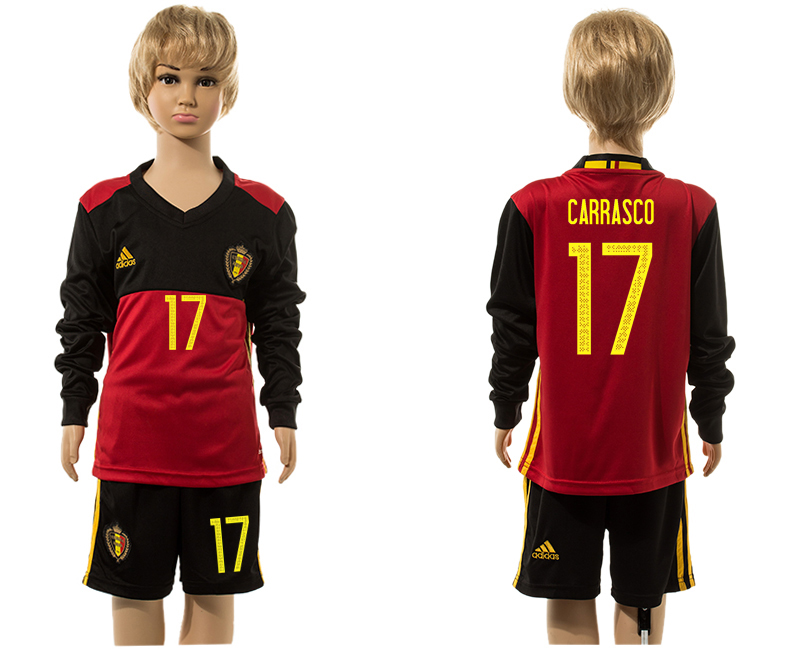 Belgium 17 CARRASCO Home Youth Long Sleeve UEFA Euro 2016 Jersey