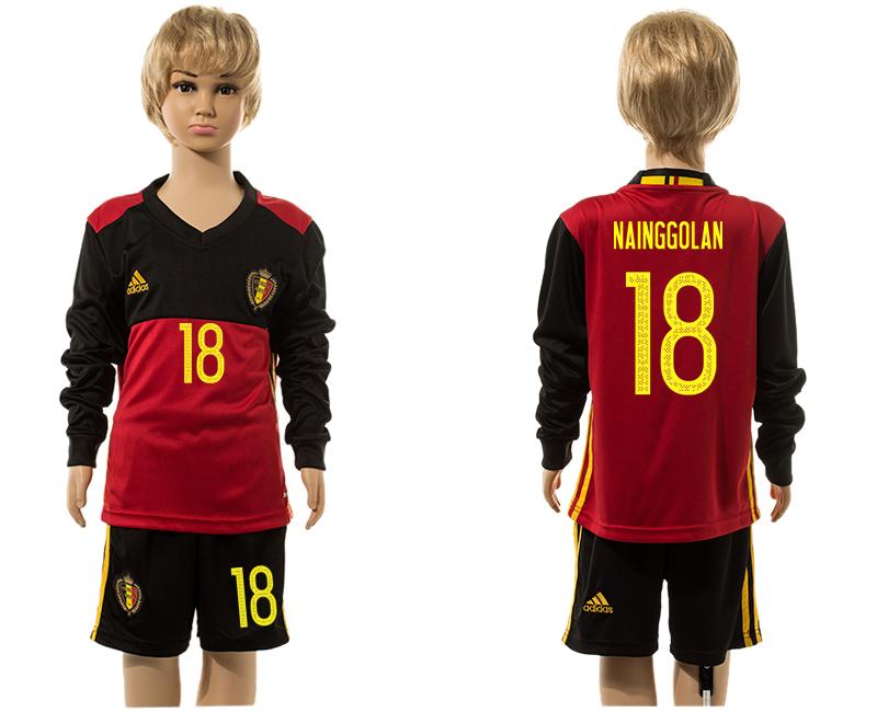 Belgium 18 NAINGGOLAN Home Youth Long Sleeve UEFA Euro 2016 Jersey