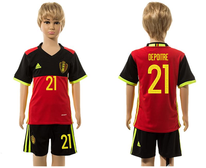 Belgium 21 DEPOITRE Home Youth UEFA Euro 2016 Jersey